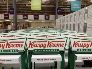 Krispy Kreme Display Stands lined up in a factory